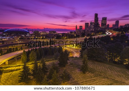 City of Seattle at dusk - stock photo