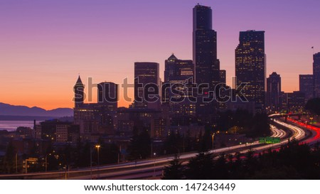City of Seattle with colorful sky