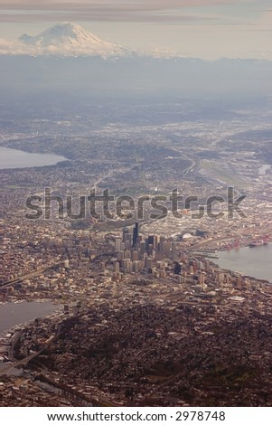 City of Seattle with mountain in background - stock photo