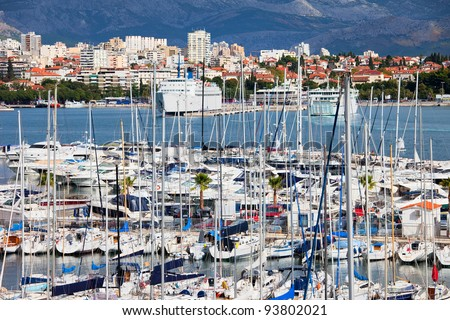 City of Split harbour on the Adriatic Sea bay in Croatia, Dalmatia region