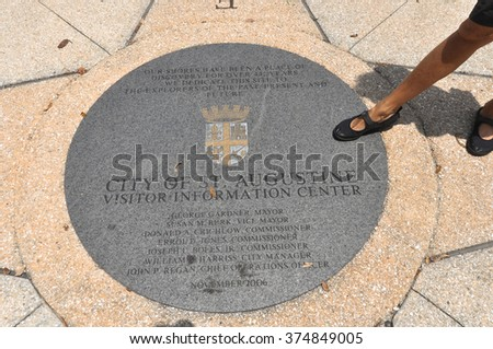 City of St. Augustine, Florida  St. Augustine,Florida,USA - July 24, 2011 : The manhole cover of the city of St. Augustine, Florida  - stock photo
