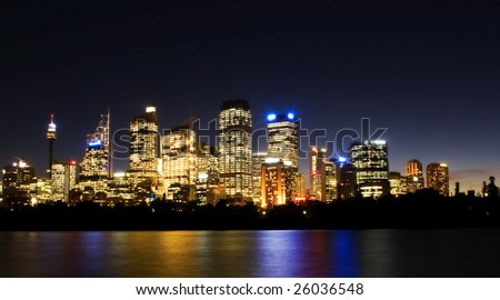 City of Sydney in night shot - stock photo