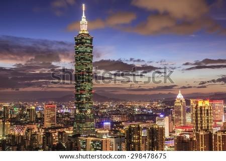 City of Taipei at sunset, Taiwan  - stock photo