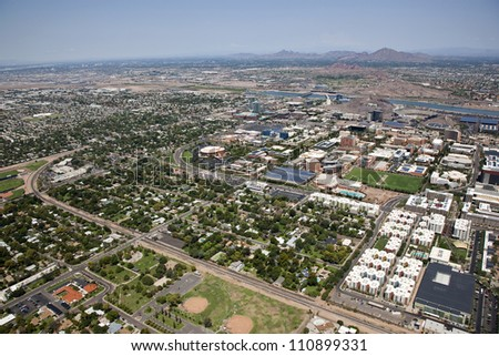 City of Tempe and the campus of Arizona State from above - stock photo