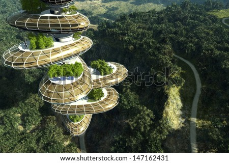 City of the Future in the forest. - stock photo