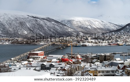 city of Tromso in the winter - stock photo