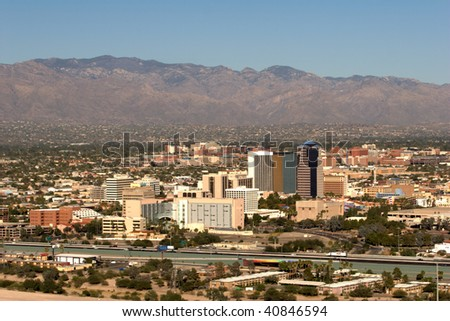 City of Tucson, AZ, taken October 31, 2009. In this photo the University of Arizona is visible, along with the Catalina Mountains. - stock photo