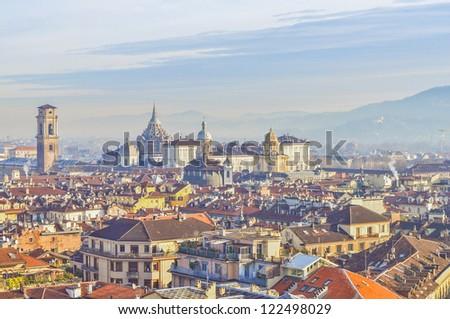 City of Turin (Torino) skyline panorama birdeye seen from above - stock photo