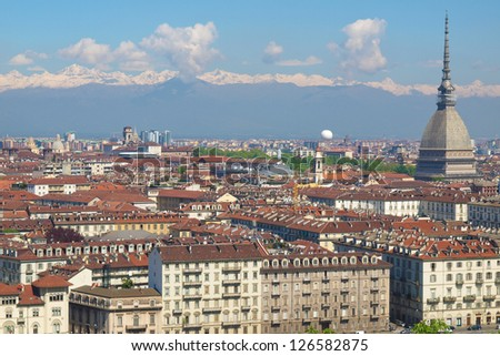City of Turin (Torino) skyline panorama seen from the hill