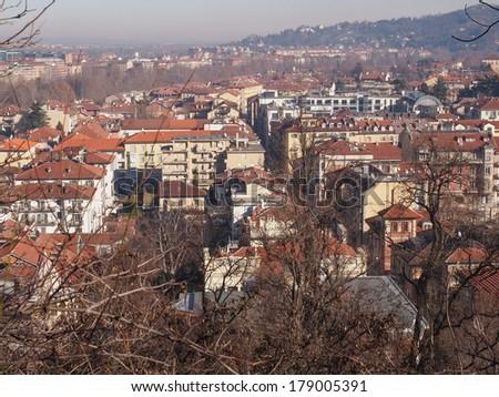 City of Turin (Torino) skyline panorama seen from the hill - stock photo