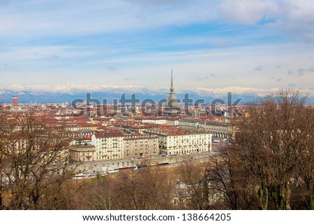 City of Turin (Torino) skyline panorama seen from the hill - wide angle - stock photo