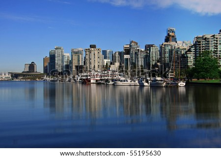 City of Vancouver, view from Coal harbor. - stock photo