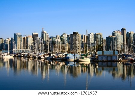 City of Vancouver, view from Stanley Park. - stock photo