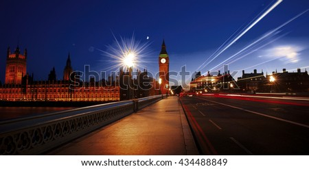 City of Westminster London At Night Concept - stock photo