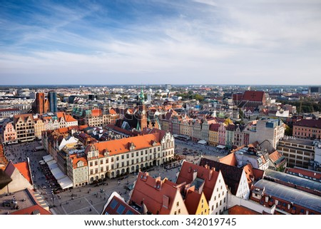 City of Wroclaw in Poland, Old Town Market Square from above. - stock photo