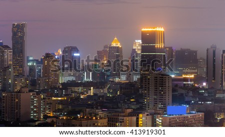 City office building night view - stock photo
