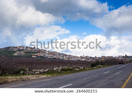City on hills in Israel - stock photo