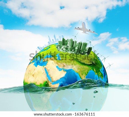 City on island floating in water. Global warming. Elements of this image are furnished by NASA - stock photo