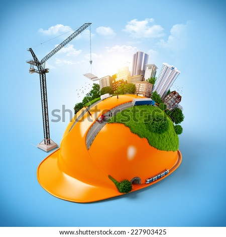 City on the construction helmet. Unusual construction concept - stock photo