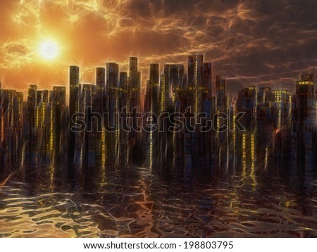 City on water sunset or sunrise - stock photo
