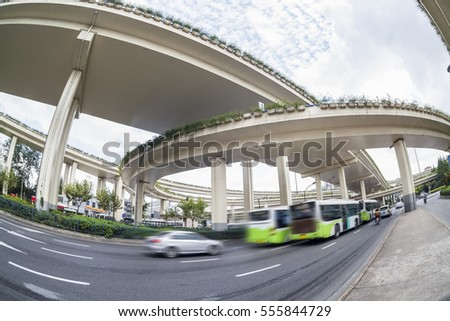 city overpasses and vehicles motion blur , fisheye view
