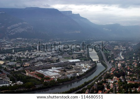 City panorama from air from La Bastille Hill in Grenoble, France.