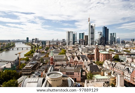 City panorama of Frankfurt with river - stock photo