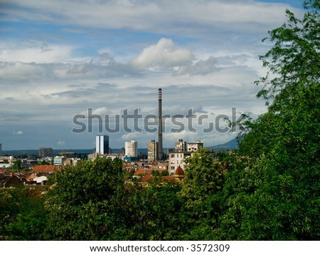 City panorama with power-plant. Zagreb capitol city of Croatia.