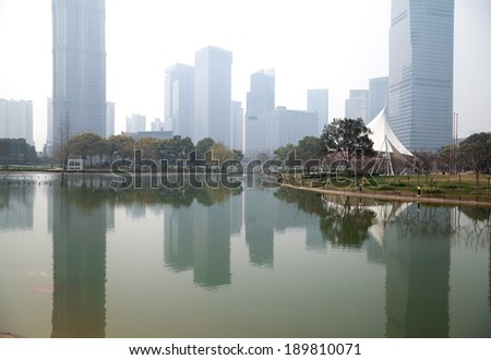 City Park buildings backgrounds streetscape at Shanghai Lujiazui - stock photo