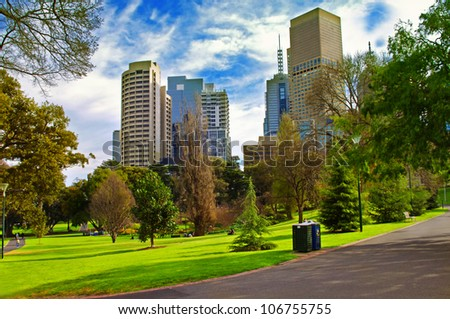 city park in sunny day.Melbourne Australia - stock photo