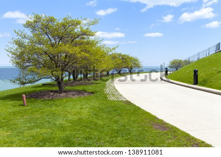 City Path With Blue Sky - stock photo