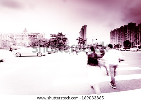 city people active,pedestrian in street - stock photo