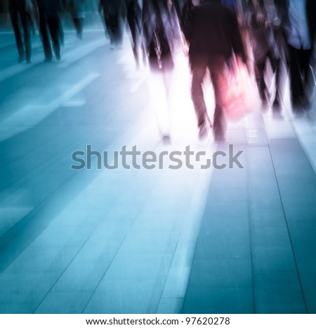 city people on business walking road blur motion - stock photo