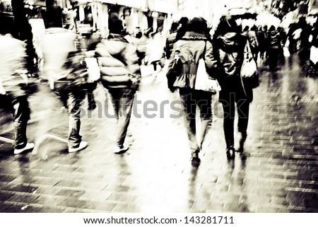 city people on business walking street - stock photo