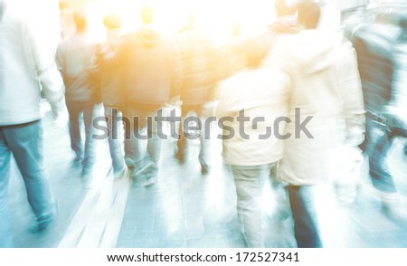 city people on business walking street - stock photo