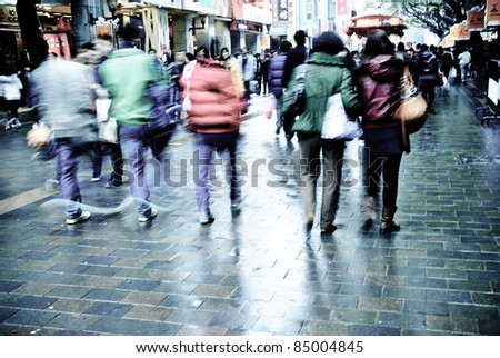 city people on business walking street