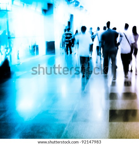 city people on business walking street blur motion - stock photo
