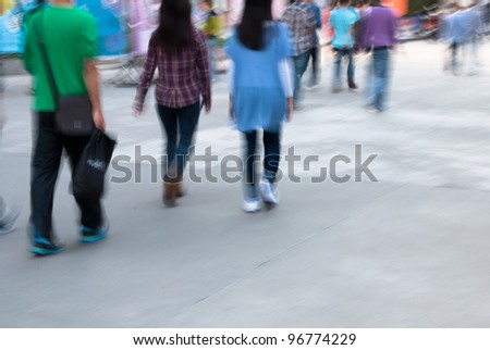 city people walking on street in motion blur