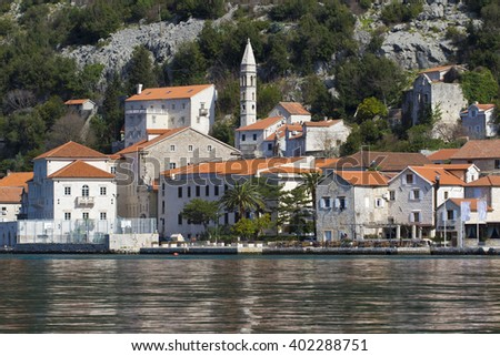 City Perast  in Montenegro Kotor bay  - stock photo