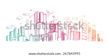 City plan hand drawn on white background - stock photo