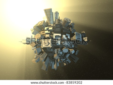 City planet in space - stock photo