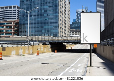 City Poster with blurred city background - stock photo