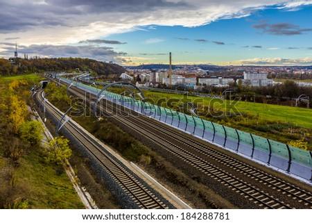 City railway tracks - stock photo