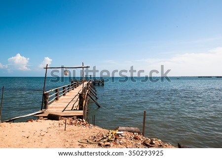 City Rameswaram, Tamil Nadu, South India. Bay of Bengal, the wooden pier for boats