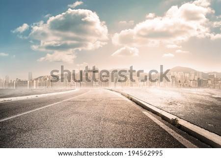 city road landscape - stock photo
