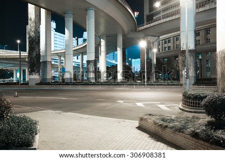 City road viaduct streetscape of night scene