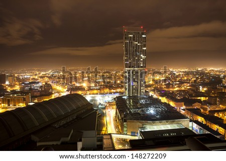 city roof top view, manchester - stock photo