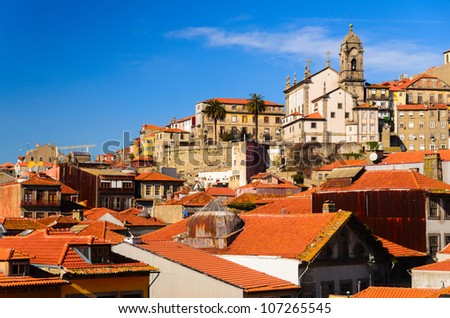 city roofs and tower of Church of Saint Francis, Porto, Portugal - stock photo