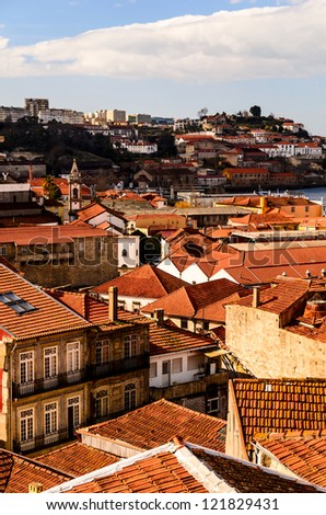 city roofs at Porto, Portugal - stock photo