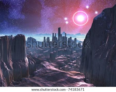 City Ruins on Hostile Alien Planet - stock photo
